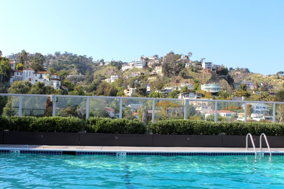 Our rooftop pool and views of the hills
