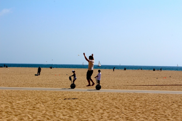 Practising trapeze on the beach